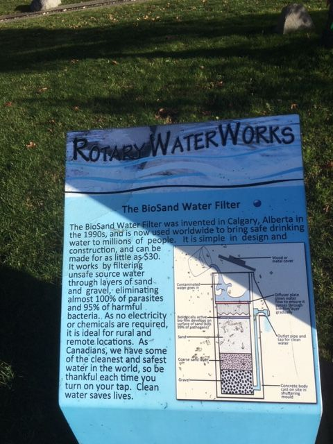 A description of the Rotary Water Works. A Biosand water filtration system.