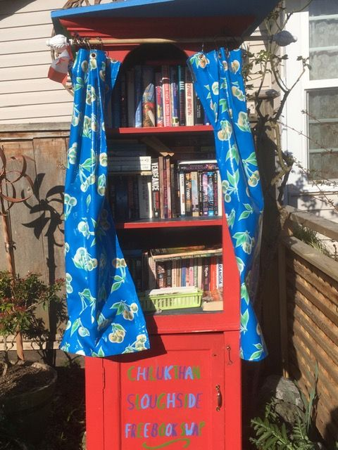Brightly-painted Chilcotin Sloughside Book Drop