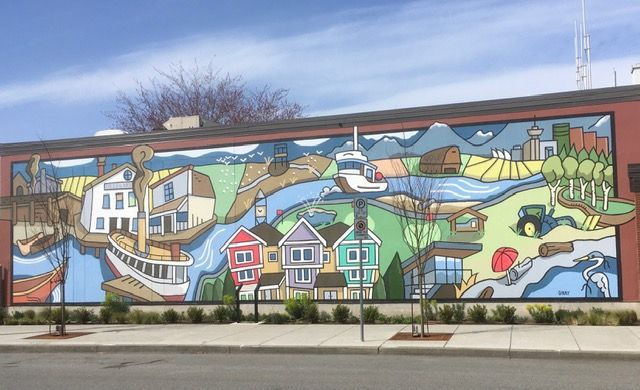 A large mural showing life in Ladner.