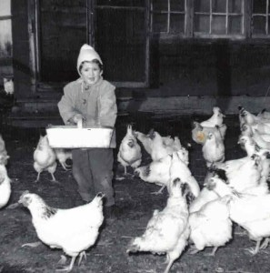 A young me feeding our chickens.