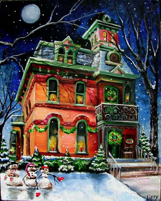 Christmas Eve at the Moonlit Mansion AL 16x20 2008