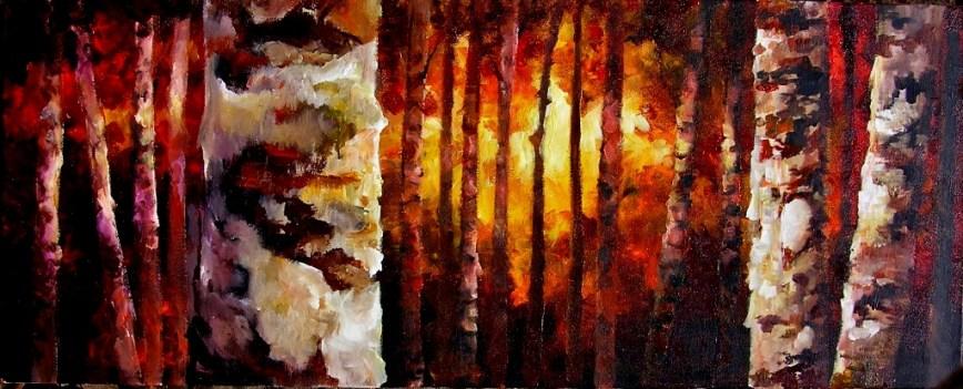 Sunset Birch Forest 16x40x1.5 2013 (1024x415)