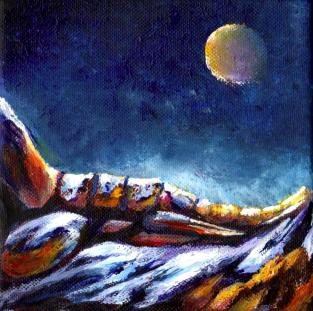 foot of the moonlit mountain