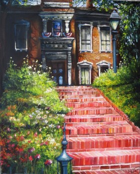 Lafayette Indiana's Historic Brick Stairway on the Fourth of July