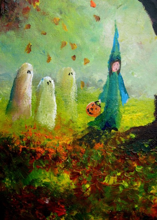 misty halloween leaf pile ghosts for auntlizzy