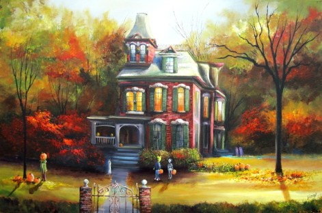 Trick or Treaters Approach Autumn's Red Manor