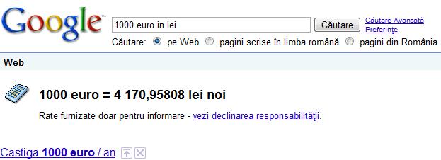 Conversii valutare pe Google