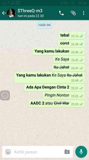 Membuat Tulisan Tebal Miring dan Coretan di Whatsapp