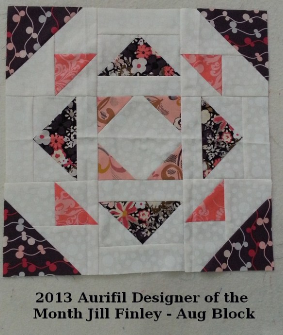 Aurifil block of the month Aug by Jill Finley