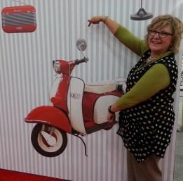 Pat at the Aurifil booth at Quilt Market