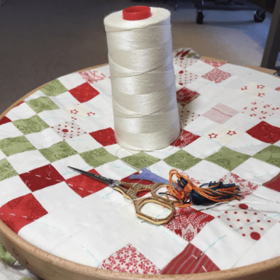 Hand Quilting with Aurifil 12wt via @minickandsimpson