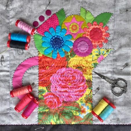 Flower Jug Appliqué Panel by Jo Avery