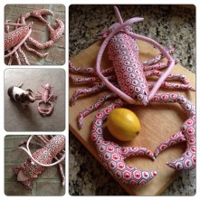 "Lobster made with a pattern from Kerry Goulder's book ""Sewing Tales To Stitch and Love"""