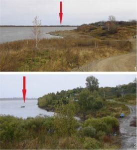 Сикачи-Алян. Пункт 1 до и во время наводнения (2013 г.)