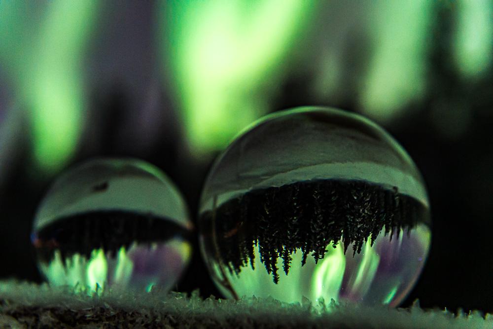 lensball aurora reflection