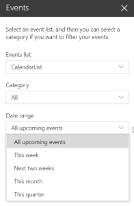 Events Web Part - edit pane