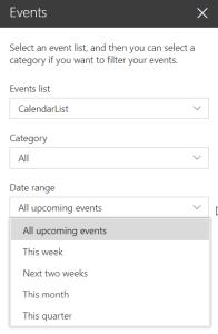 Events Web Part - edit pane