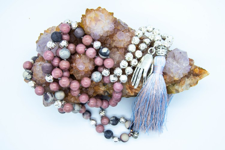 Gyana Mudra Mala With Coral, Porcelain, Jasper, Rhodonite & Electroplated Lava Rock