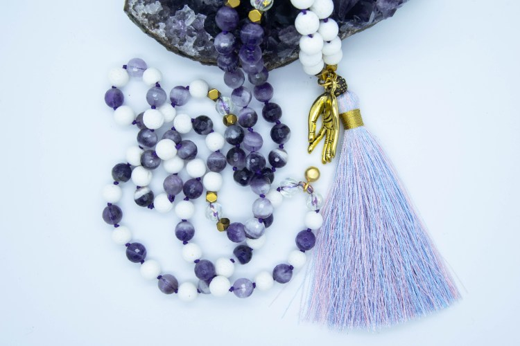 Gold Coloured Gyan Mudra Mala With Amethyst & Coral