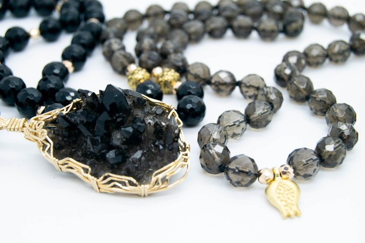 Raw Smoky Quartz With Onyx Mala