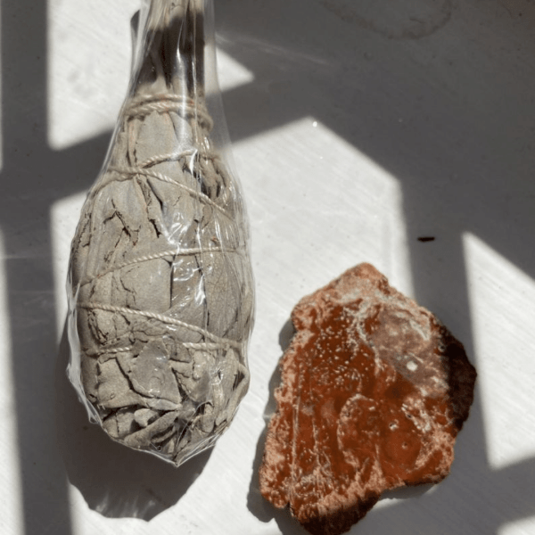 Fossilised Wood Slice & Sage Smudging Bulb Kit