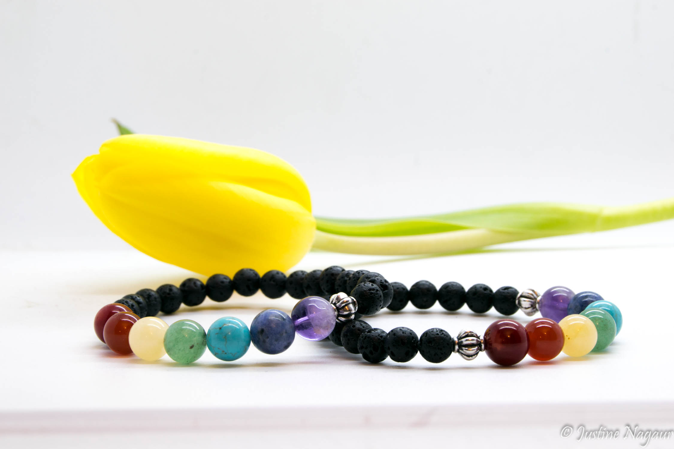Chakra Gemstone Bracelets With Lava Rock
