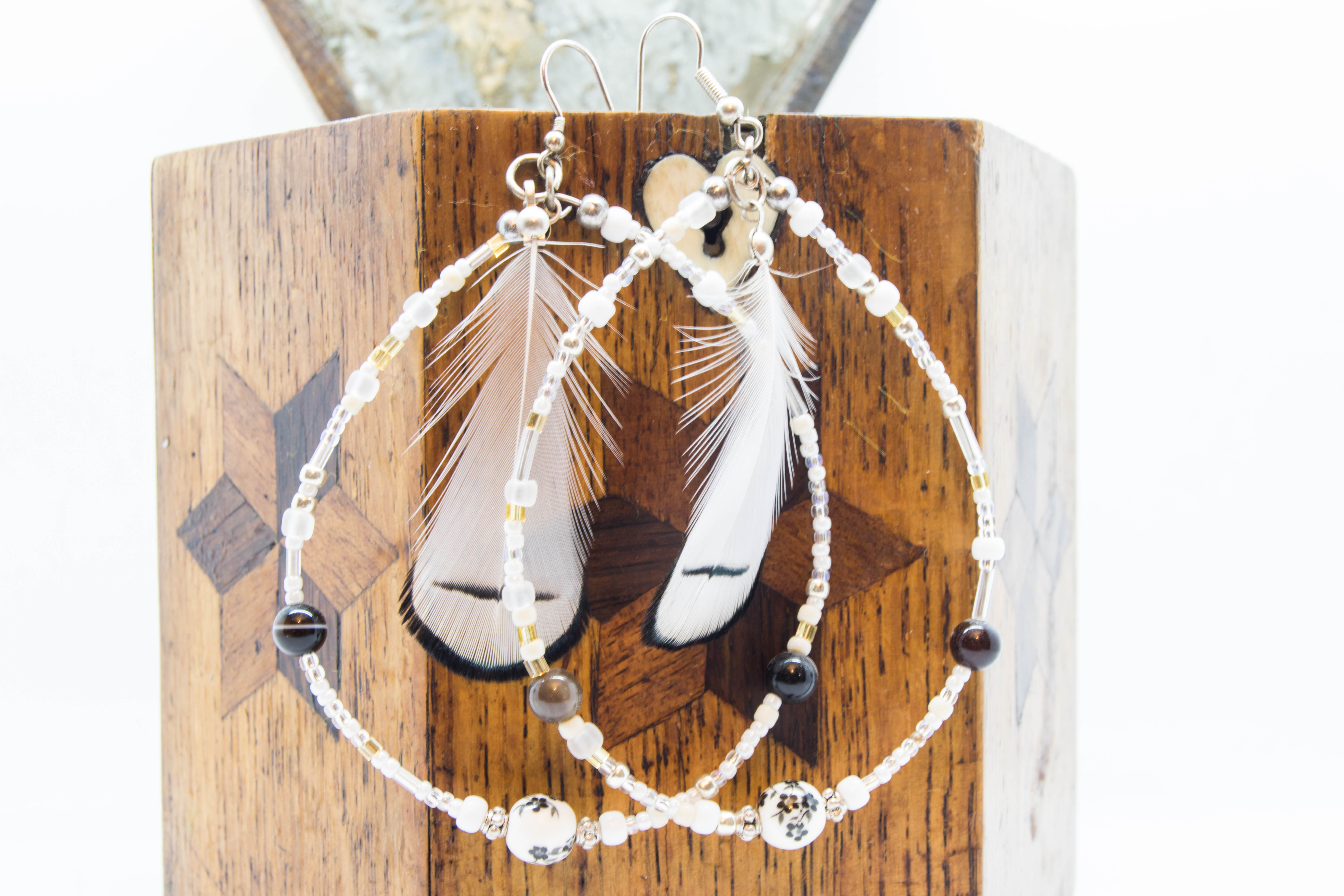 White Spirit Boho Feather Earrings