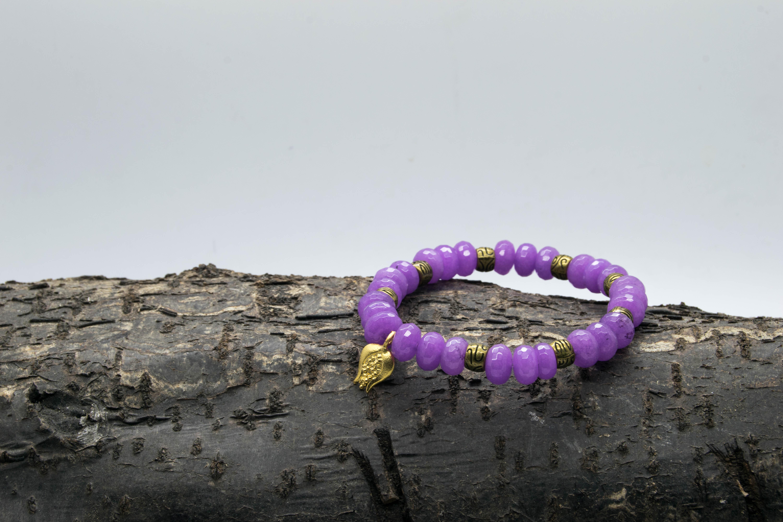Kyanite Purple Pomegranate Charm Bracelet – Aligns All Chakras, Shanti Range