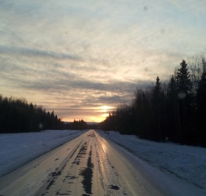 Icy road to Chena Hot Springs. This is the way it looks for most of the year.