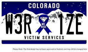 Aurora Rise Victim Services License Plate - 10.5in x 300DPI