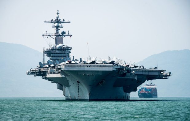 DA NANG, Vietnam (March 5, 2018) The Nimitz-class aircraft carrier USS Carl Vinson (CVN 70) arrives in Da Nang, Vietnam for a scheduled port visit. (U.S. Navy photo by Mass Communication Specialist 3rd Class Devin M. Monroe/Released)