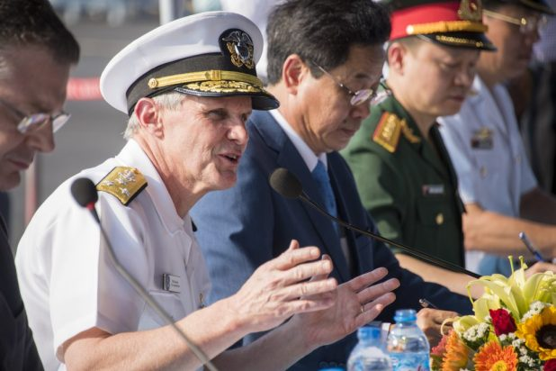 DA NANG, Vietnam (Mar. 5, 2018) Vice Adm. Phillip G. Sawyer, commander, U.S. 7th Fleet, speaks to members of the press on the pier after a welcome ceremony in Da Nang, Vietnam. (U.S. Navy photo by Mass Communication Specialist 3rd Class Devin M. Monroe/Released)