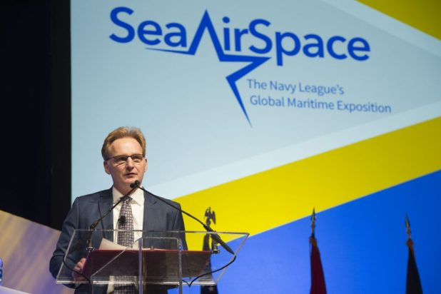 NATIONAL HARBOR, Md. (April 11, 2018) Undersecretary of the Navy Thomas Modly gives closing remarks during a luncheon at the 2018 Sea-Air-Space Exposition. The annual event hosted by the Navy League of the United States and brings together the U.S. defense industrial base, private-sector U.S. companies, and key military decision makers for an innovative, educational, and professional maritime based event. (U.S. Navy photo by Mass Communication Specialist 2nd Class Brittney Cannady/Released)