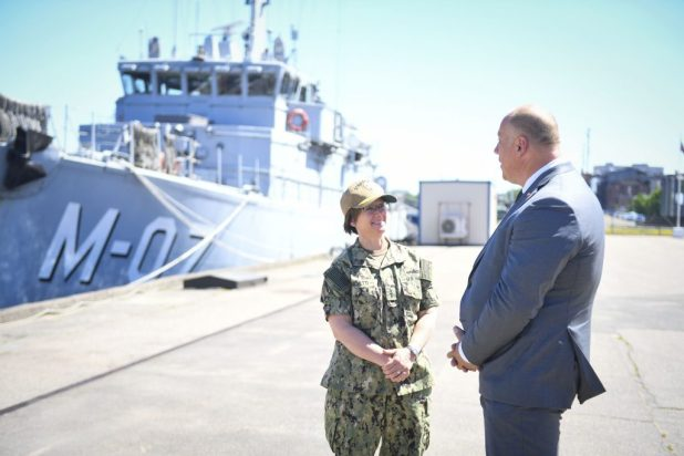 LIEPAJA, Latvia (June 2, 2018) Vice Adm. Lisa M. Franchetti, commander of U.S. 6th Fleet and Naval Striking and Support Forces NATO, meets with Raimonds Bergmanis, Latvian minister of defense, at Liepaja Naval Base during exercise Baltic Operations (BALTOPS) 2018. (U.S. Navy photo by Mass Communication Specialist 1st Class Justin Stumberg/Released)