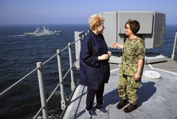 BALTIC SEA (June 4, 2018) Vice Adm. Lisa M. Franchetti, commander, U.S. 6th Fleet and commander, Naval Striking and Support Force NATO, right, speaks with Lithuanian President Dalia Grybauskaite aboard the Blue Ridge-class command and control ship USS Mount Whitney (LCC 20). (U.S. Navy photo by Mass Communication Specialist 1st Class Justin Stumberg/Released)