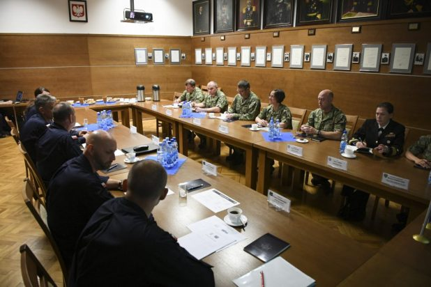 GDYNIA, Poland (June 6, 2018) Vice Adm. Lisa M. Franchetti, commander of U.S. 6th Fleet and Naval Striking and Support Forces NATO, meets with Polish Rear Adm. Miroslaw Mordel, inspector of the Polish Navy, in Gdynia, Poland, during exercise Baltic Operations (BALTOPS) 2018. (U.S. Navy photo by Mass Communication Specialist 1st Class Justin Stumberg/Released)