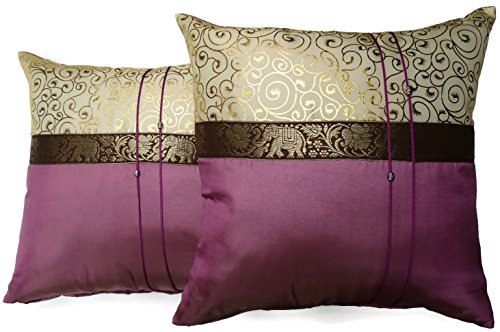 Set Of Two Wine Purple Silk Throw Cushion Cover Pillow
