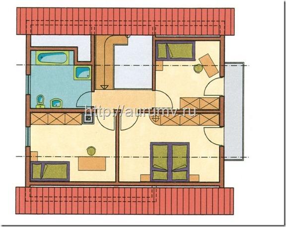 дом кантри 130 поэтажный план 2 этаж
