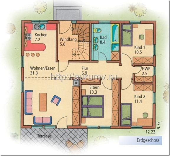 дом семейный поэтажный план вариант2 этаж1
