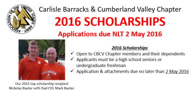 2016 Scholarship Applications – Due NLT 2 May 2016!