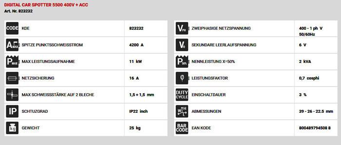 Technische Daten Ausbeulspotter digital car puller 5500 400V