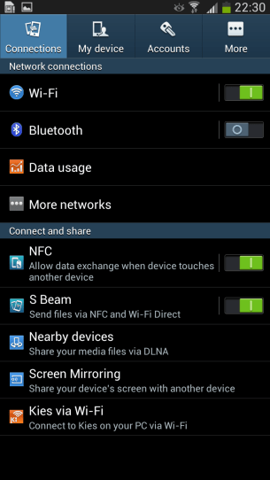 Samsung's settings are basically untouched from the S4.