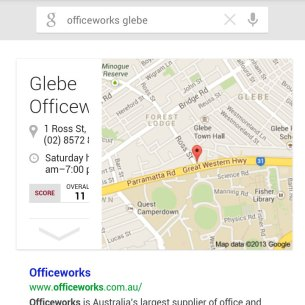 Google Now business listings aren't sized correctly