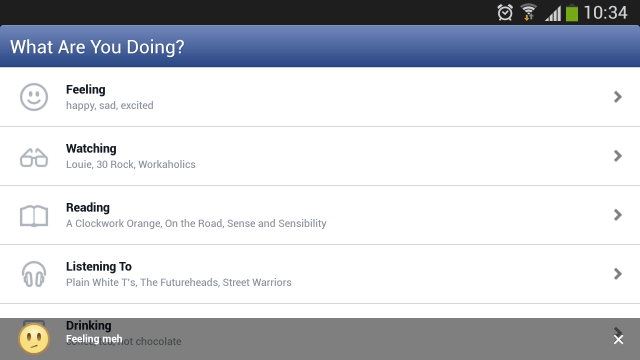 Facebook for Android; icon statuses