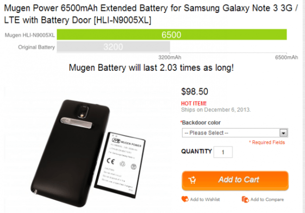 Mugen Power 6500mAh Extended Battery for Samsung Galaxy Note 3 3G   LTE with Battery Door