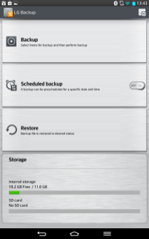 LG Backup comes complete with an inexplicable brushed metal UI.
