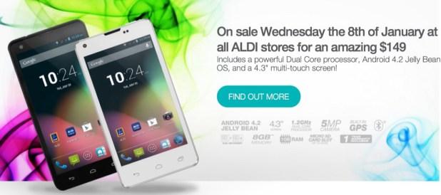 Vaughn dual sim smartphone - ALDI Jan 14