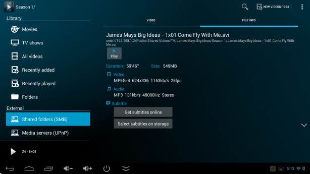 Archos Video Player - file info