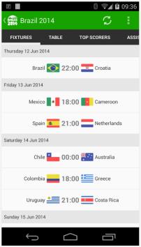 View scheduled matches