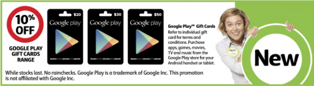 Google Play Gift Cards - Coles Catalogue 28 May